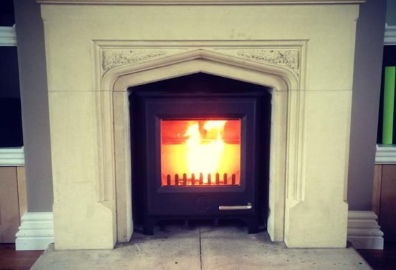flames in professionally fitted stove