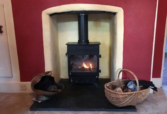log burner installed into home