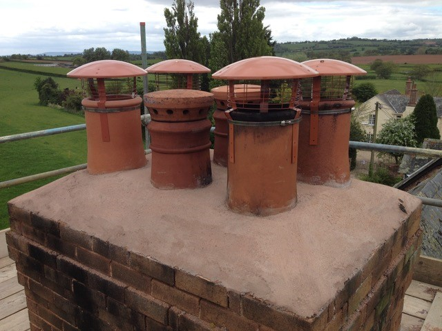 renovated chimney stack with new chimney pots installed