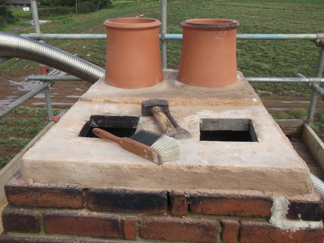 repairs to chimney stack and new chimney pots fitted